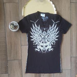 Affliction Wings Cross Gemstone T Shirt S